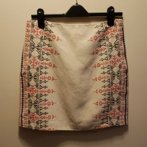 Ann Taylor Loft Boho Linen Skirt with embroidery